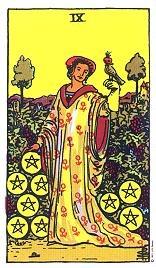 tarotkarte neun münzen
